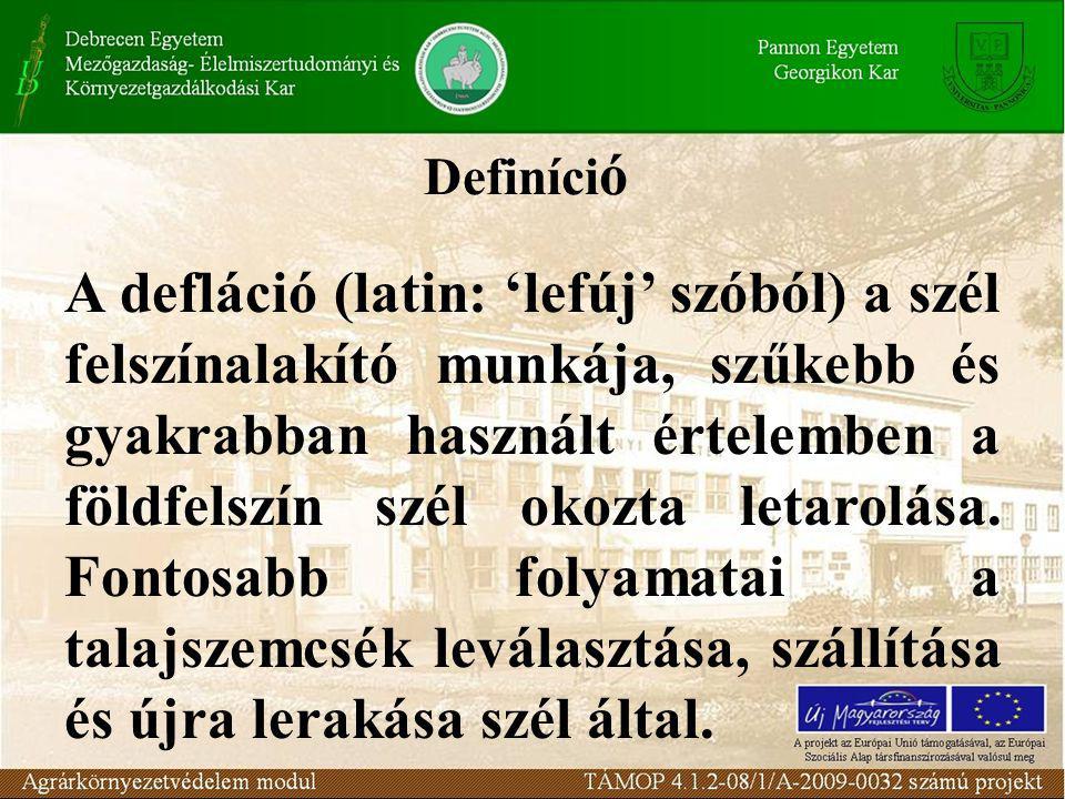 Definíci ó A defláció (latin: 'lefúj' szóból) a szél felszínalakító munkája, szűkebb és gyakrabban használt értelemben a földfelszín szél okozta letarolása.