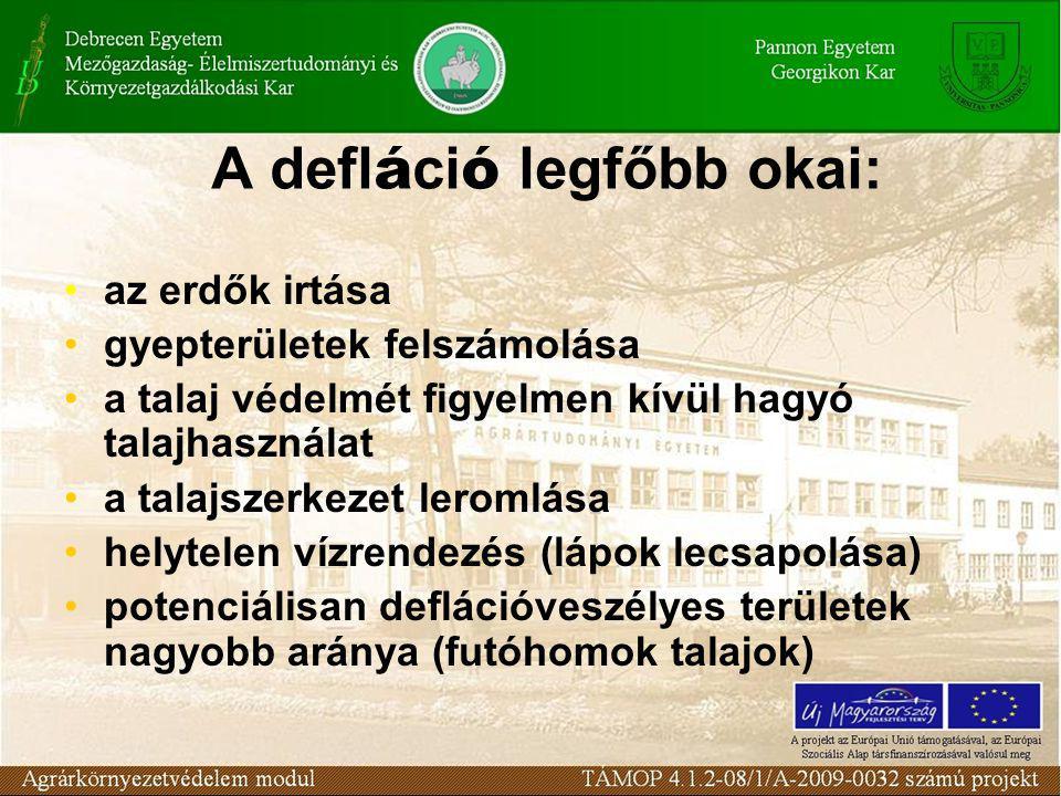 A defl á ci ó legfőbb okai: az erdők irtása gyepterületek felszámolása a talaj védelmét figyelmen kívül hagyó talajhasználat a talajszerkezet leromlása helytelen vízrendezés (lápok lecsapolása) potenciálisan deflációveszélyes területek nagyobb aránya (futóhomok talajok)