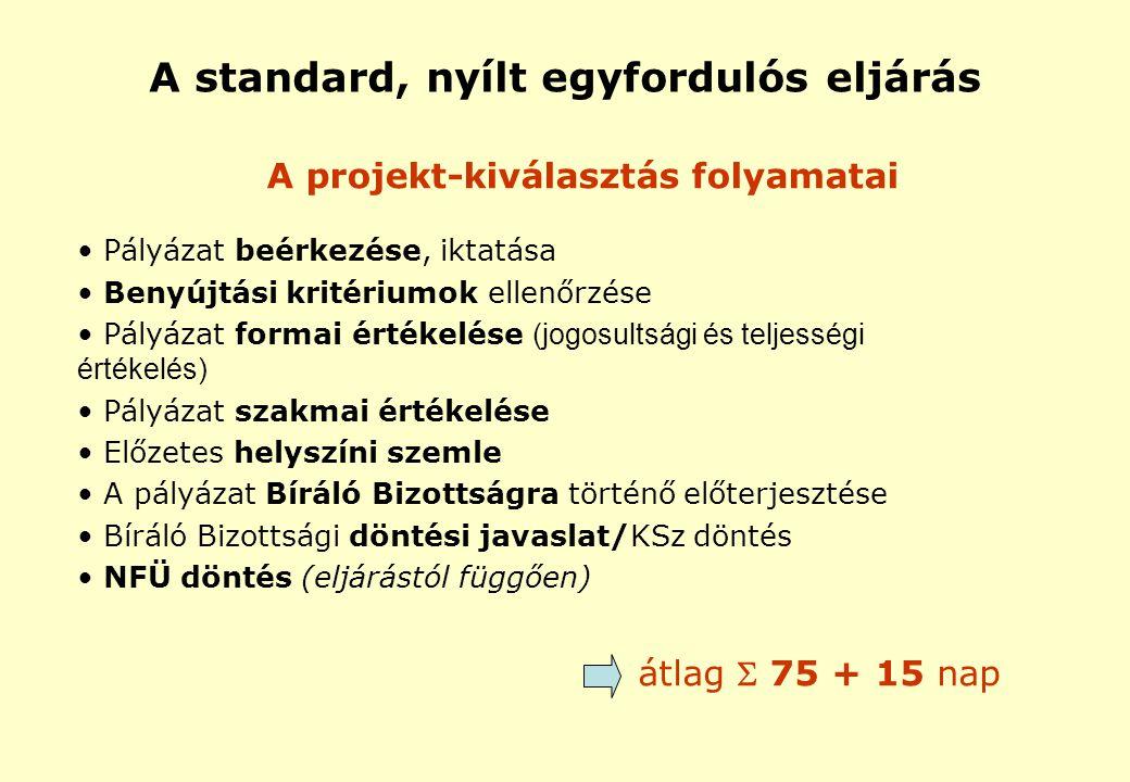 A projekt-kiválasztás folyamatai Pályázat beérkezése, iktatása Benyújtási kritériumok ellenőrzése Pályázat formai értékelése (jogosultsági és teljességi értékelés) Pályázat szakmai értékelése Előzetes helyszíni szemle A pályázat Bíráló Bizottságra történő előterjesztése Bíráló Bizottsági döntési javaslat/KSz döntés NFÜ döntés (eljárástól függően) átlag  75 + 15 nap A standard, nyílt egyfordulós eljárás