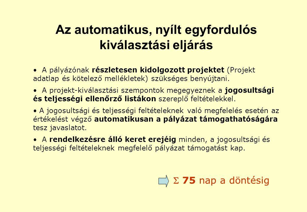 Az automatikus, nyílt egyfordulós kiválasztási eljárás A pályázónak részletesen kidolgozott projektet (Projekt adatlap és kötelező mellékletek) szükséges benyújtani.