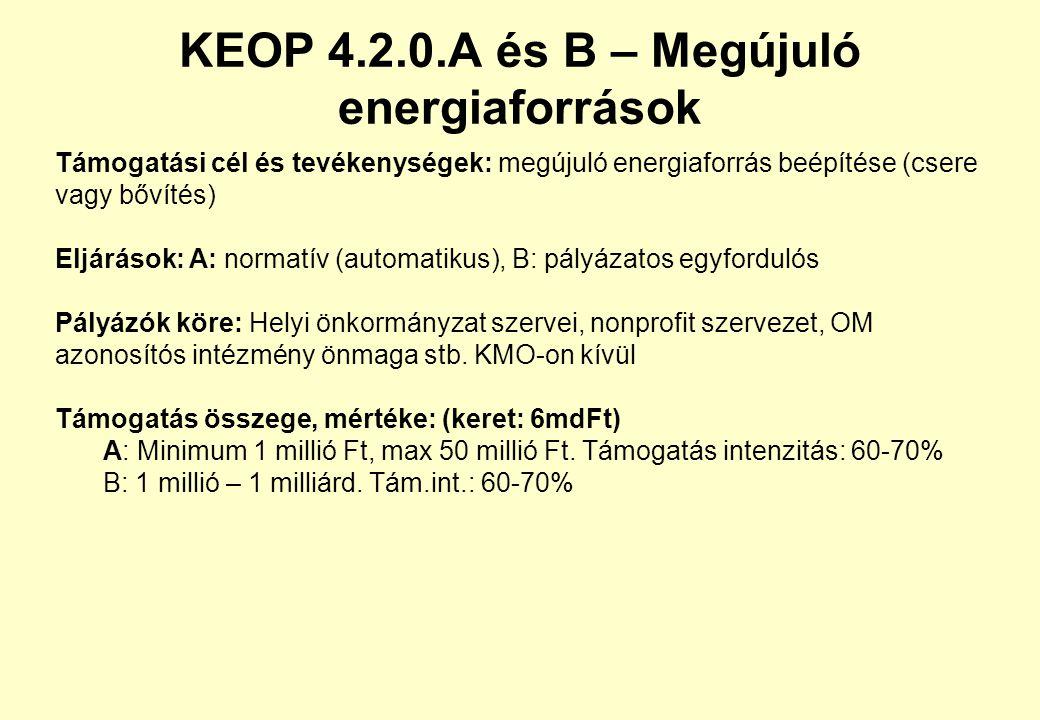 KEOP 4.2.0.A és B – Megújuló energiaforrások Támogatási cél és tevékenységek: megújuló energiaforrás beépítése (csere vagy bővítés) Eljárások: A: normatív (automatikus), B: pályázatos egyfordulós Pályázók köre: Helyi önkormányzat szervei, nonprofit szervezet, OM azonosítós intézmény önmaga stb.