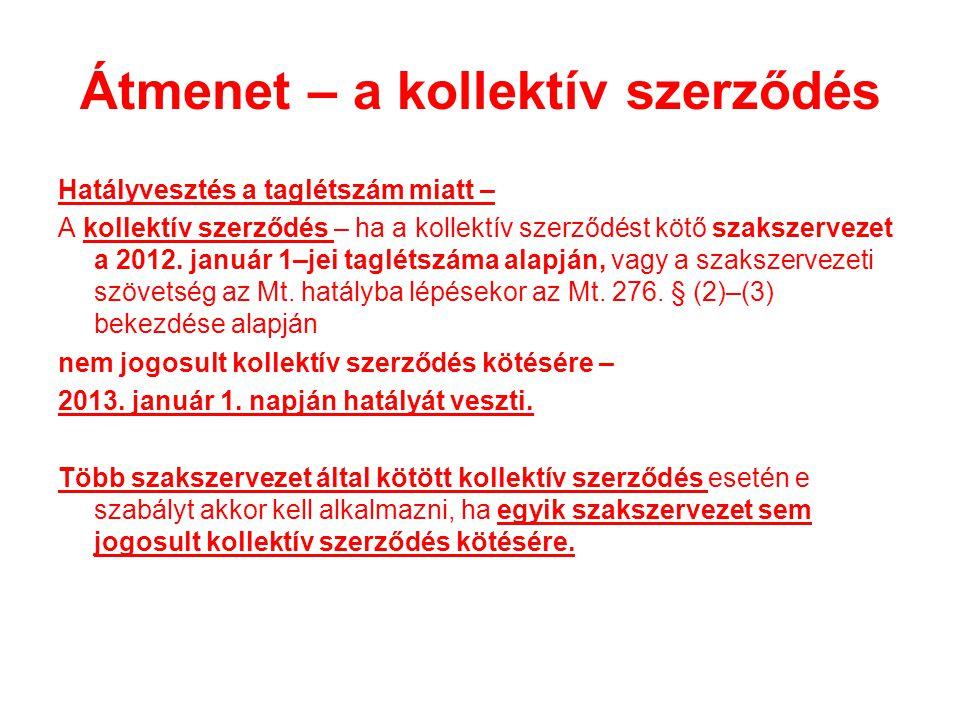 Átmenet – a kollektív szerződés Hatályvesztés a taglétszám miatt – A kollektív szerződés – ha a kollektív szerződést kötő szakszervezet a 2012.
