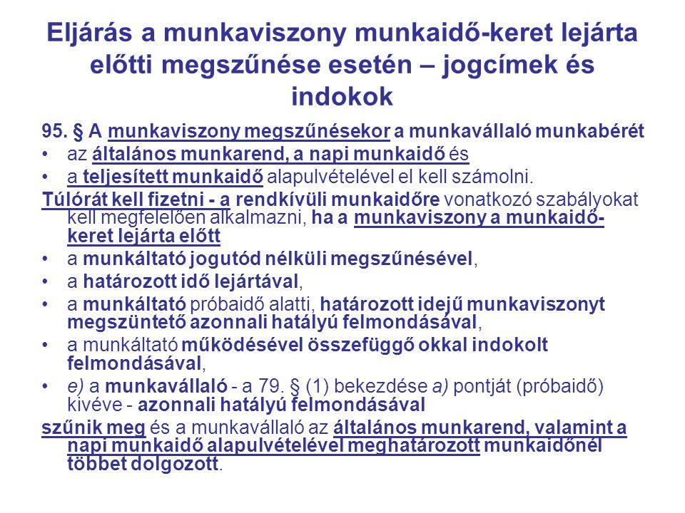 Eljárás a munkaviszony munkaidő-keret lejárta előtti megszűnése esetén – jogcímek és indokok 95.