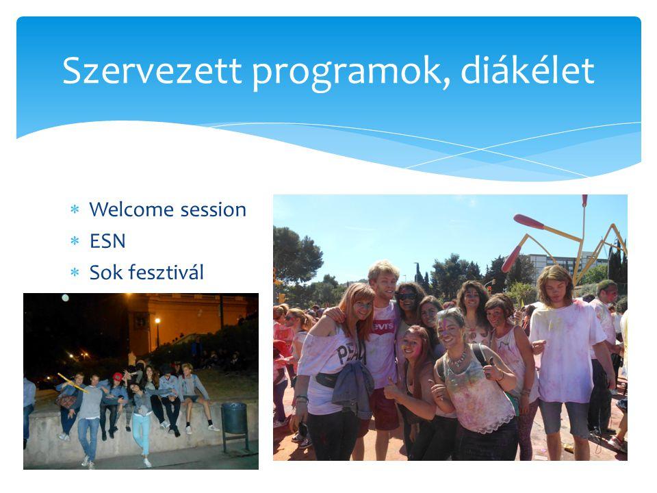  Welcome session  ESN  Sok fesztivál Szervezett programok, diákélet