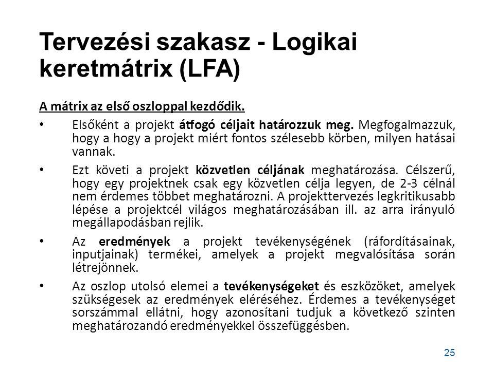 Tervezési szakasz - Logikai keretmátrix (LFA) A mátrix az első oszloppal kezdődik.