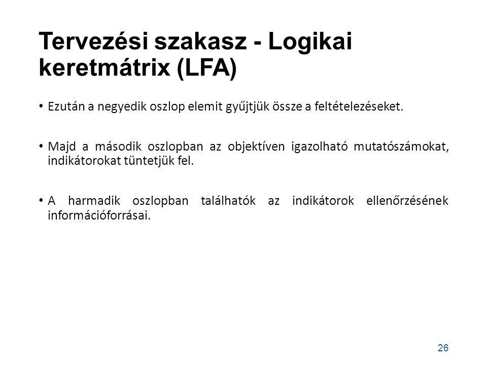 Tervezési szakasz - Logikai keretmátrix (LFA) Ezután a negyedik oszlop elemit gyűjtjük össze a feltételezéseket.