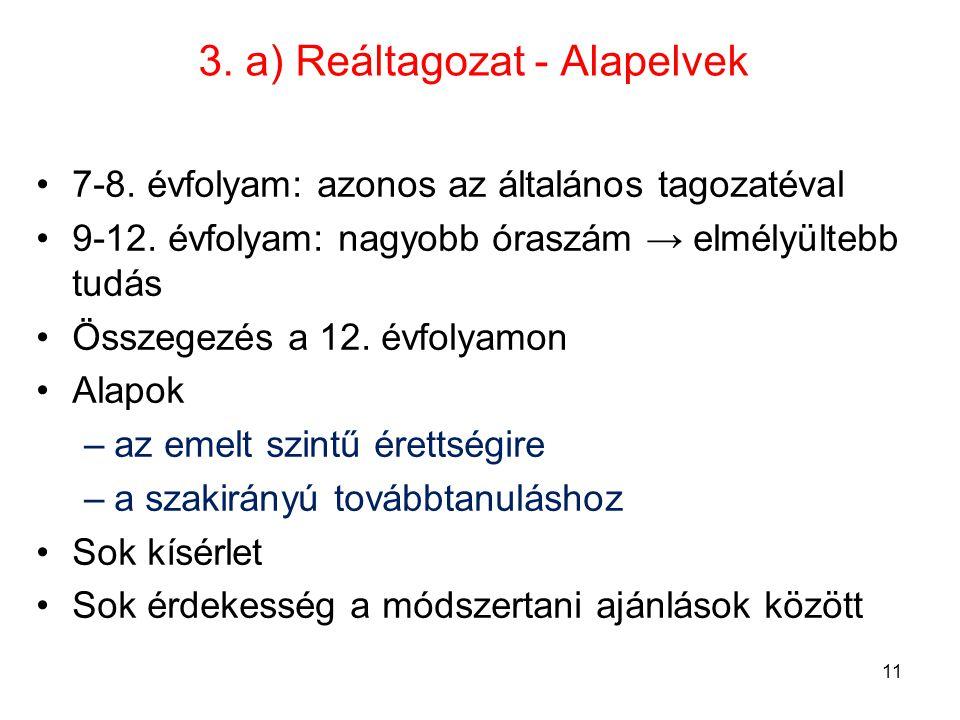 3. a) Reáltagozat - Alapelvek 7-8. évfolyam: azonos az általános tagozatéval 9-12. évfolyam: nagyobb óraszám → elmélyültebb tudás Összegezés a 12. évf