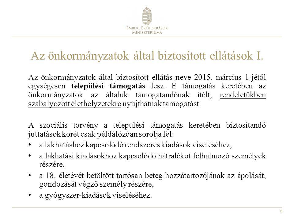 6 Az önkormányzatok által biztosított ellátások I. Az önkormányzatok által biztosított ellátás neve 2015. március 1-jétől egységesen települési támoga