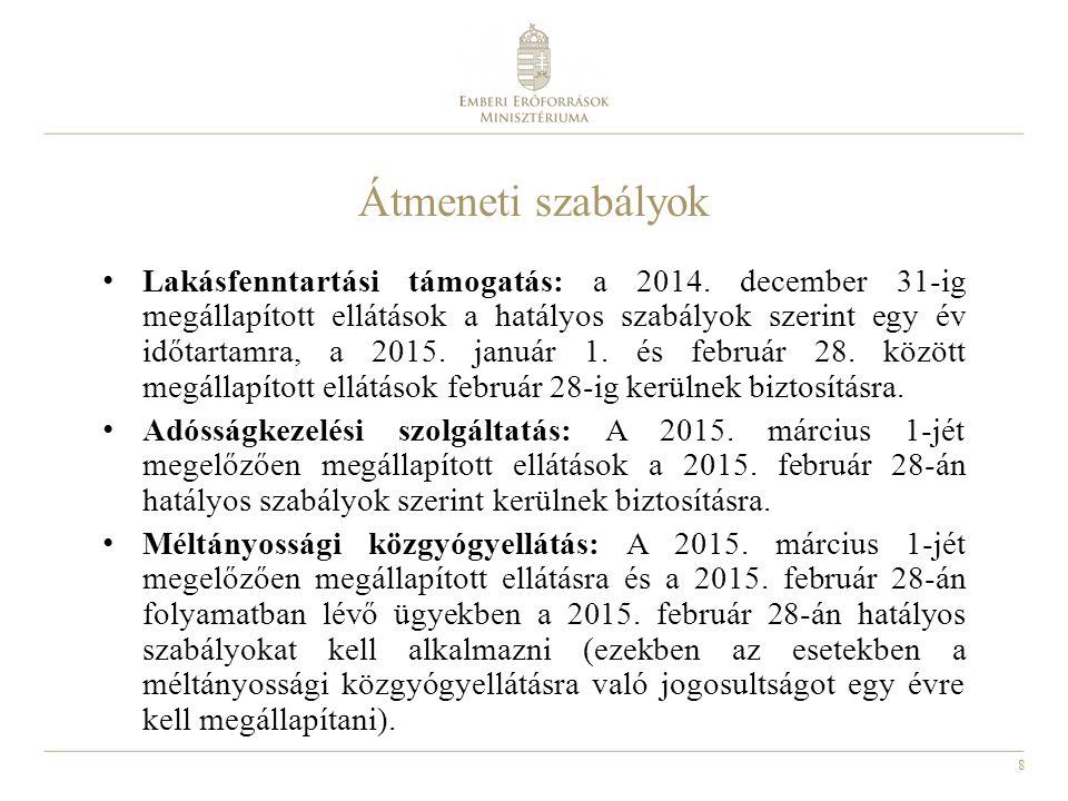 8 Átmeneti szabályok Lakásfenntartási támogatás: a 2014. december 31-ig megállapított ellátások a hatályos szabályok szerint egy év időtartamra, a 201