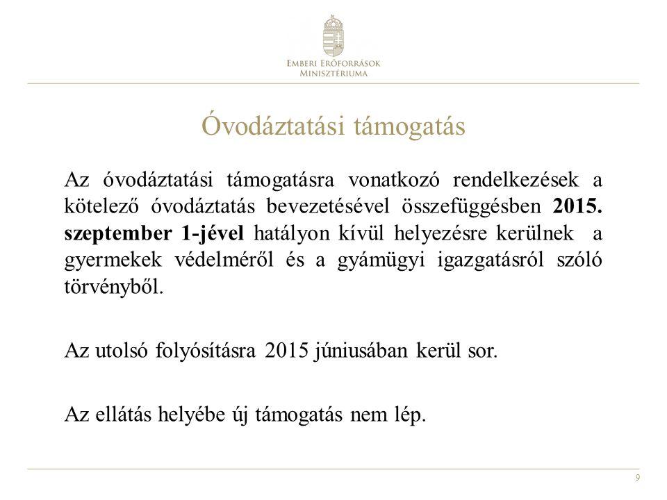 9 Óvodáztatási támogatás Az óvodáztatási támogatásra vonatkozó rendelkezések a kötelező óvodáztatás bevezetésével összefüggésben 2015. szeptember 1-jé