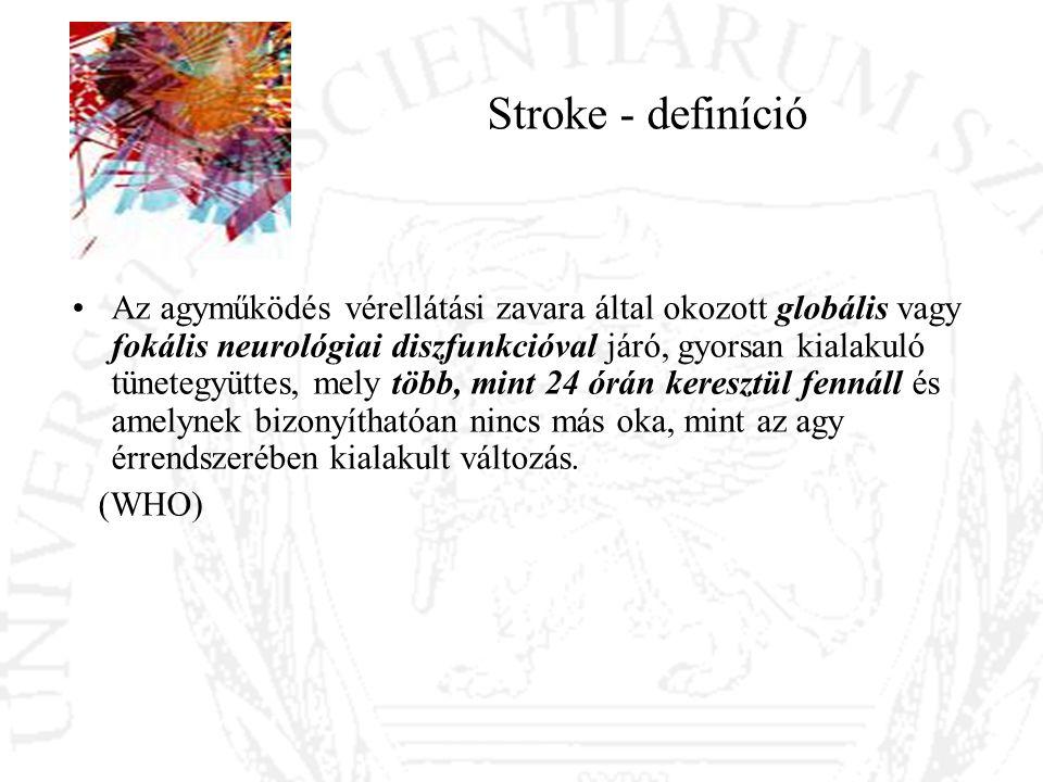 Stroke típusai, okai Iszkémiás stroke 85% –15-30%-ban kardiogén embolizáció –45%-ban ateroszklerotikus eredet –30%-ban lakunáris stroke –10%-ban idiopátiás, vagy ritka etiológiájú Vérzéses stroke 15% (ezen belül spontán vérzés 10%) –Hypertonia –Antikoaguláns kezelés –Drog, alkohol –Hematológiai betegség –Iszkémiás stroke másodlagos vérzéses transzformációja –Fejlődési rendellenesség vérzése –Magas életkor