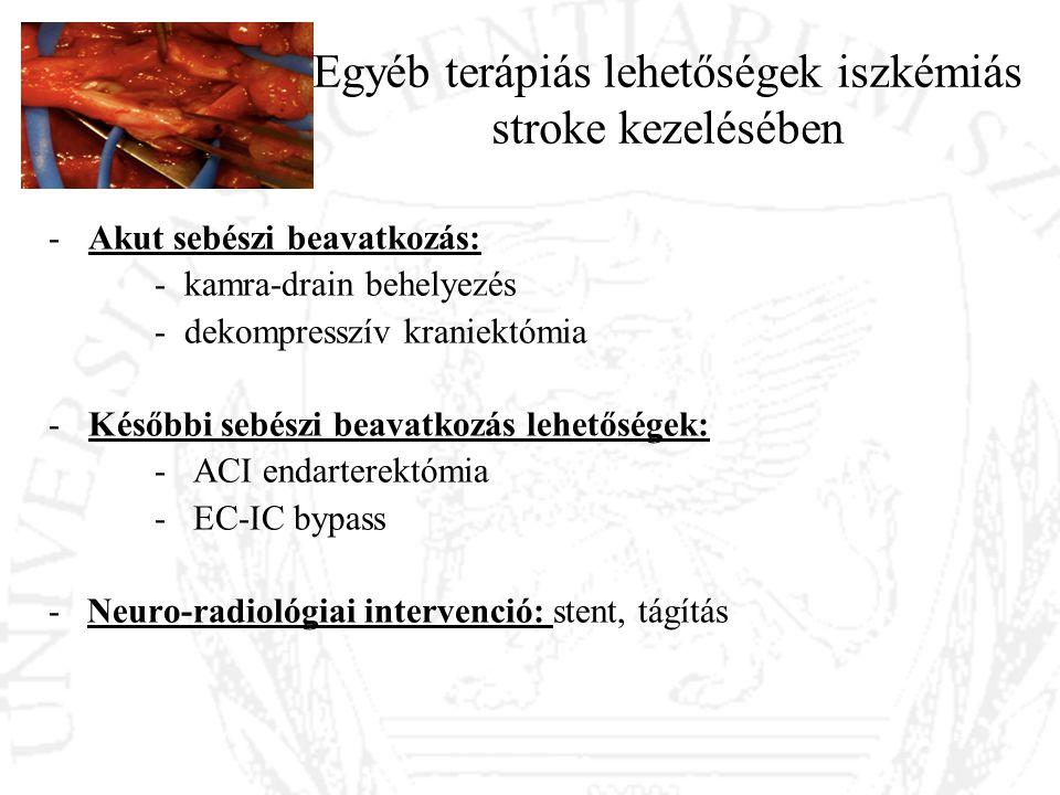 Egyéb terápiás lehetőségek iszkémiás stroke kezelésében -Akut sebészi beavatkozás: - kamra-drain behelyezés - dekompresszív kraniektómia -Későbbi sebé
