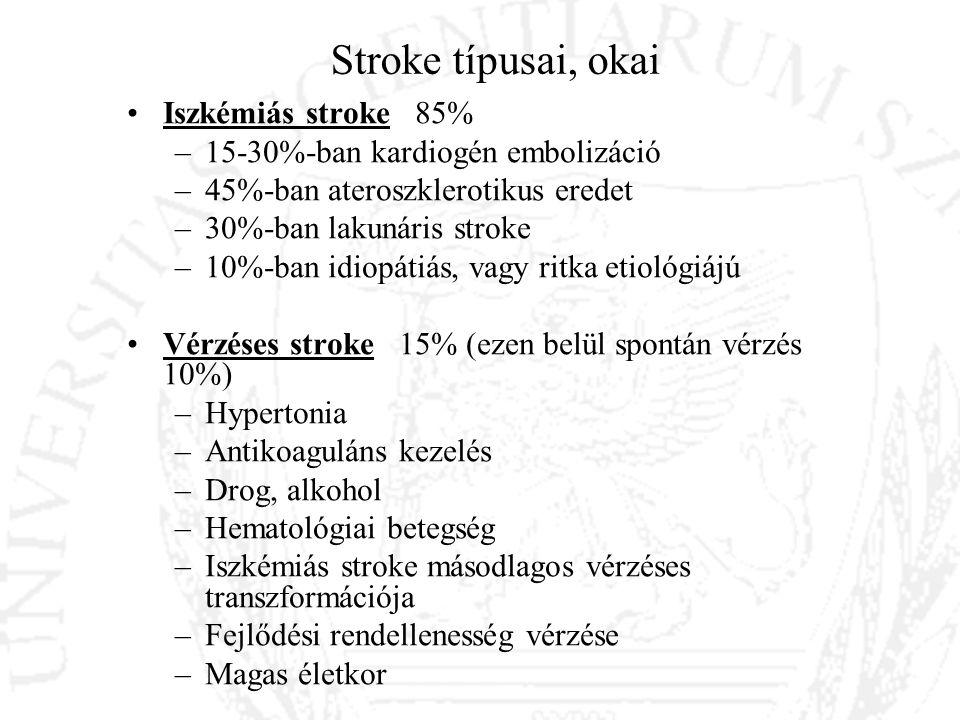 Glasgow Coma Scale (GCS) National Institutes of Health Stroke Scale Glasgow Coma Scale Szemnyitás 4 - spontán 3 - megszólításra 2 – fájdalomra 1 – nincs szemnyitás Verbális válasz 5 – orientált 4 – zavart 3 – nem megfelelő szavak 2 – érthetetlen hangok 1 – nincs válasz Motoros válasz 6 – utasításokat végrehajt 5 – lokalizálja a fájdalmat 4 – fájdalomra elhúzza a végtagot 3 – kóros flexió (dekortikált válasz) 2 – kóros extensio (decerebrált válasz) 1 – nincs válasz National Institutes of Health Stroke Scale (NIHSS) Level of consciousness (0-3) Orientation questions (0-2) Respons to commands (0-2) Gaze (0-2) Visual fields (0-3) Facial movement (0-3) Motor function (arm) (0-4) Motor function (leg) (0-4) Limb ataxia (0-2) Sensory (0-2) Language (0-3) Articulation (0-2) Extinction or inattention (0-2) < 10 kedvező kimenetel (a stroke-on átesett betegek 60-70%-a ) > 20 (a stroke-on átesett betegek 4-16%-a)
