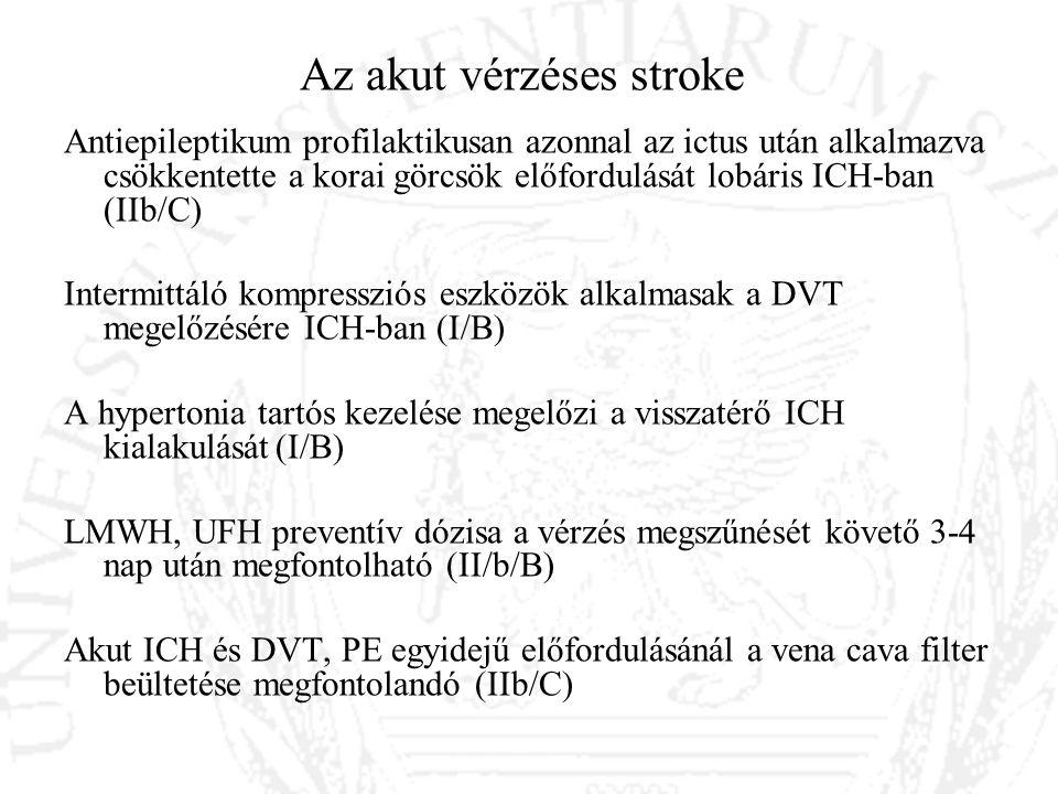 Az akut vérzéses stroke Antiepileptikum profilaktikusan azonnal az ictus után alkalmazva csökkentette a korai görcsök előfordulását lobáris ICH-ban (I
