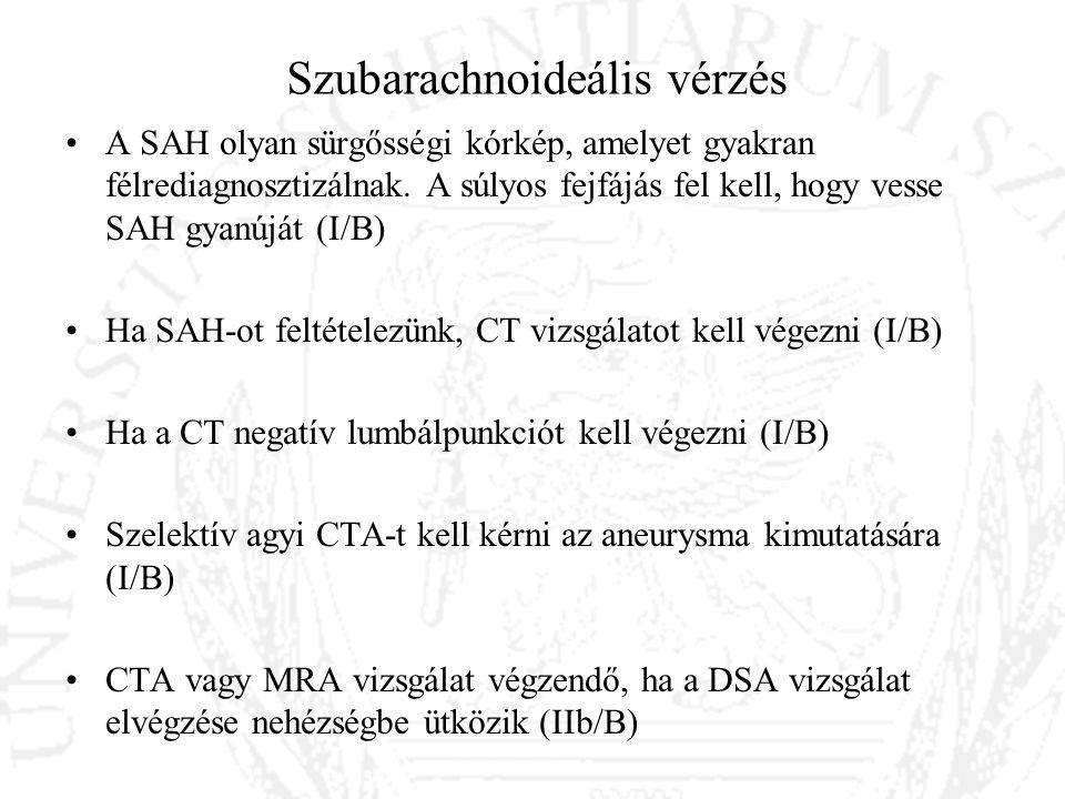 Szubarachnoideális vérzés A SAH olyan sürgősségi kórkép, amelyet gyakran félrediagnosztizálnak. A súlyos fejfájás fel kell, hogy vesse SAH gyanúját (I