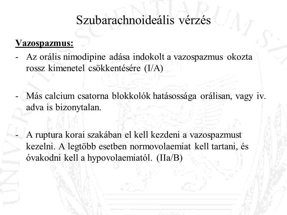 Szubarachnoideális vérzés Vazospazmus: -Az orális nimodipine adása indokolt a vazospazmus okozta rossz kimenetel csökkentésére (I/A) -Más calcium csat