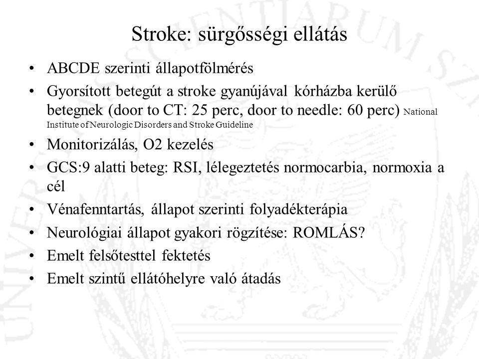 Stroke: sürgősségi ellátás ABCDE szerinti állapotfölmérés Gyorsított betegút a stroke gyanújával kórházba kerülő betegnek (door to CT: 25 perc, door t