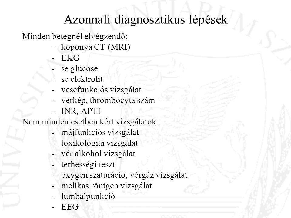 Azonnali diagnosztikus lépések Minden betegnél elvégzendő: - koponya CT (MRI) - EKG - se glucose - se elektrolit - vesefunkciós vizsgálat - vérkép, th