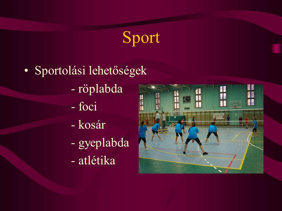 Sport Sportolási lehetőségek - röplabda - foci - kosár - gyeplabda - atlétika