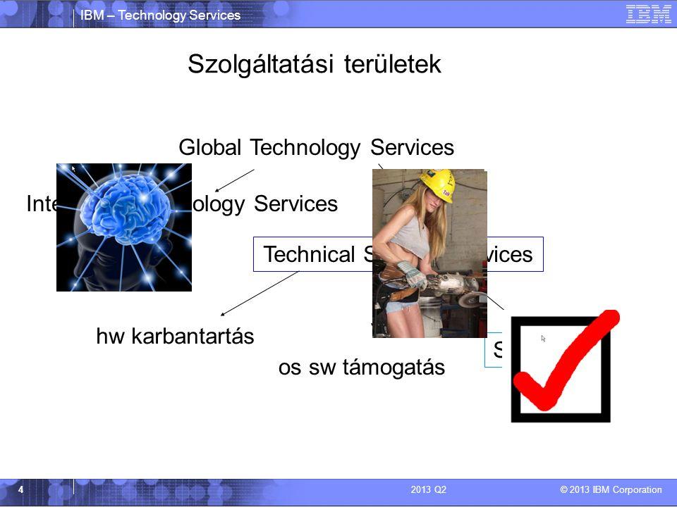 IBM – Technology Services © 2013 IBM Corporation 42013 Q2 Szolgáltatási területek Global Technology Services Integrated Technology Services Technical