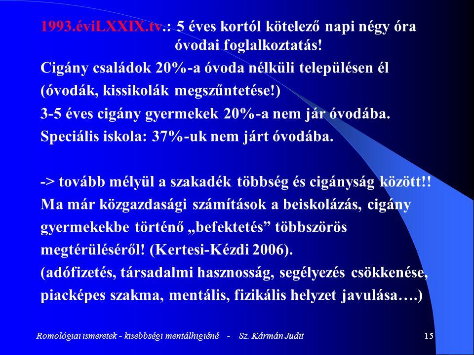 Romológiai ismeretek - kisebbségi mentálhigiéné - Sz. Kármán Judit15 1993.éviLXXIX.tv.: 5 éves kortól kötelező napi négy óra óvodai foglalkoztatás! Ci