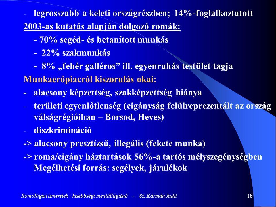 Romológiai ismeretek - kisebbségi mentálhigiéné - Sz. Kármán Judit18 - legrosszabb a keleti országrészben; 14%-foglalkoztatott 2003-as kutatás alapján