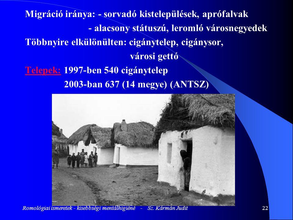 Romológiai ismeretek - kisebbségi mentálhigiéné - Sz. Kármán Judit22 Migráció iránya: - sorvadó kistelepülések, aprófalvak - alacsony státuszú, leroml