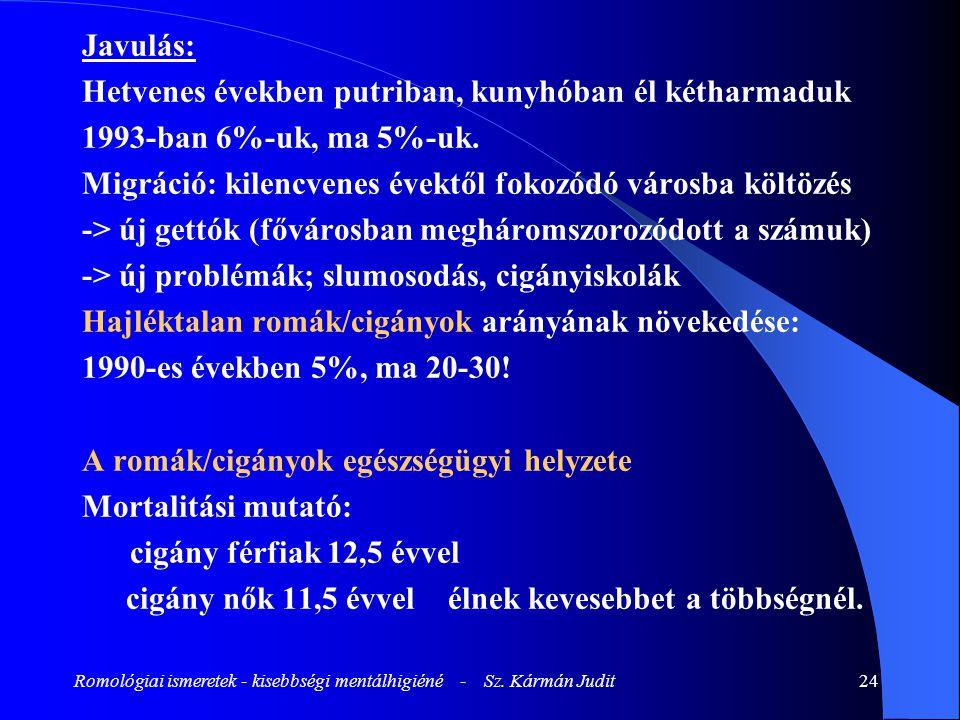 Romológiai ismeretek - kisebbségi mentálhigiéné - Sz. Kármán Judit24 Javulás: Hetvenes években putriban, kunyhóban él kétharmaduk 1993-ban 6%-uk, ma 5
