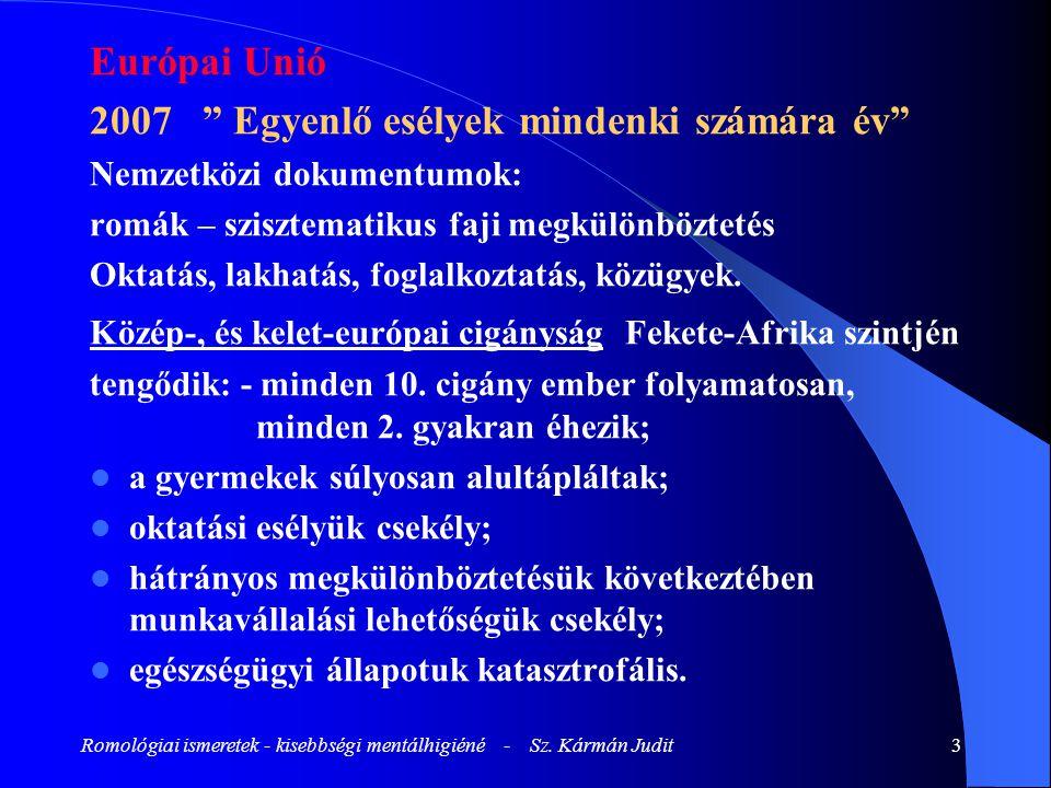 """Romológiai ismeretek - kisebbségi mentálhigiéné - Sz. Kármán Judit3 Európai Unió 2007 """" Egyenlő esélyek mindenki számára év"""" Nemzetközi dokumentumok:"""