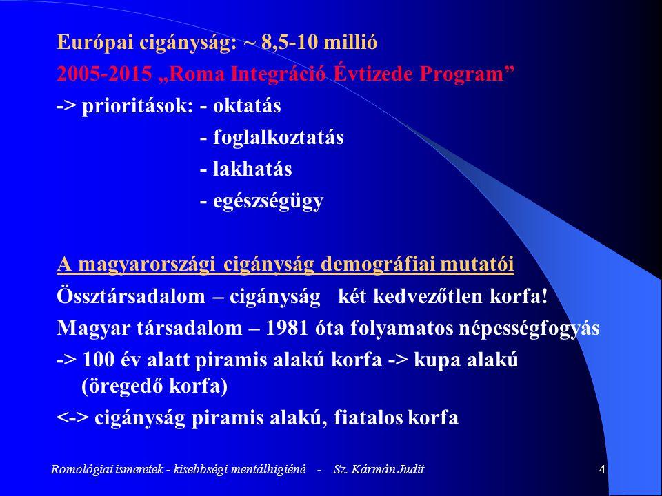 """Romológiai ismeretek - kisebbségi mentálhigiéné - Sz. Kármán Judit4 Európai cigányság: ~ 8,5-10 millió 2005-2015 """"Roma Integráció Évtizede Program"""" ->"""