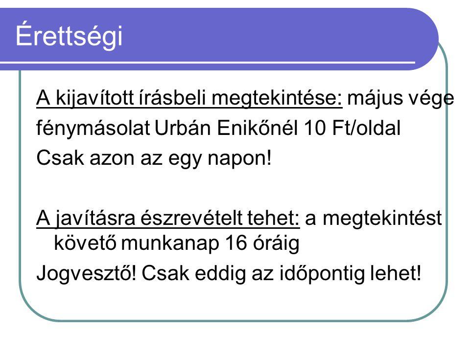 Érettségi A kijavított írásbeli megtekintése: május vége fénymásolat Urbán Enikőnél 10 Ft/oldal Csak azon az egy napon! A javításra észrevételt tehet: