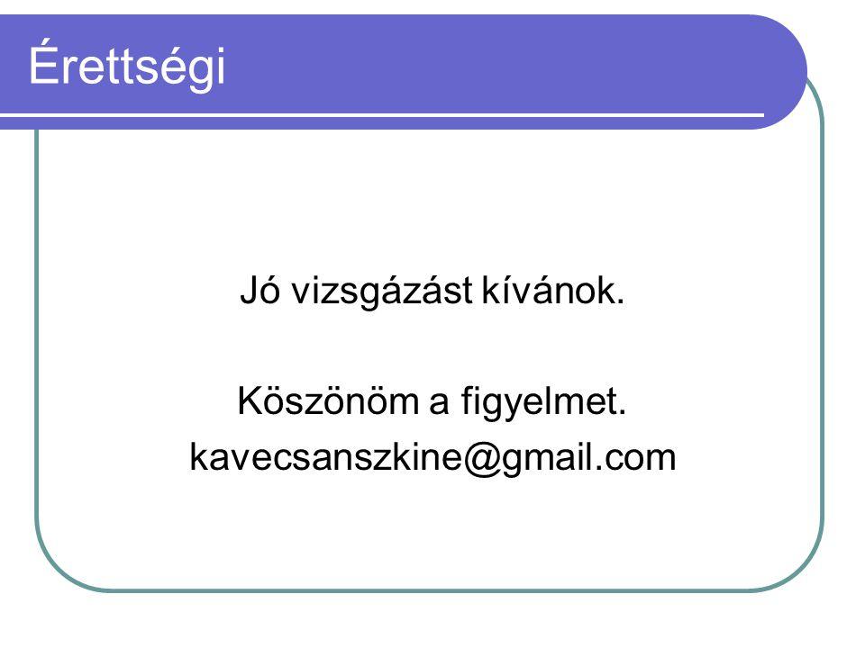 Érettségi Jó vizsgázást kívánok. Köszönöm a figyelmet. kavecsanszkine@gmail.com