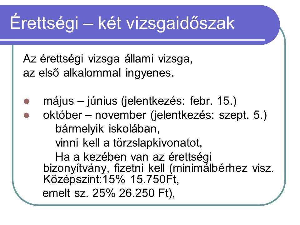 Érettségi – két vizsgaidőszak Az érettségi vizsga állami vizsga, az első alkalommal ingyenes. május – június (jelentkezés: febr. 15.) október – novemb