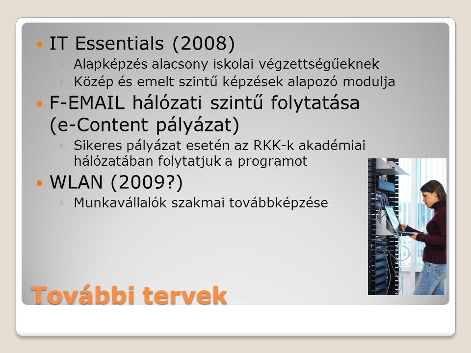 További tervek IT Essentials (2008) ◦Alapképzés alacsony iskolai végzettségűeknek ◦Közép és emelt szintű képzések alapozó modulja F-EMAIL hálózati szintű folytatása (e-Content pályázat) ◦Sikeres pályázat esetén az RKK-k akadémiai hálózatában folytatjuk a programot WLAN (2009 ) ◦Munkavállalók szakmai továbbképzése
