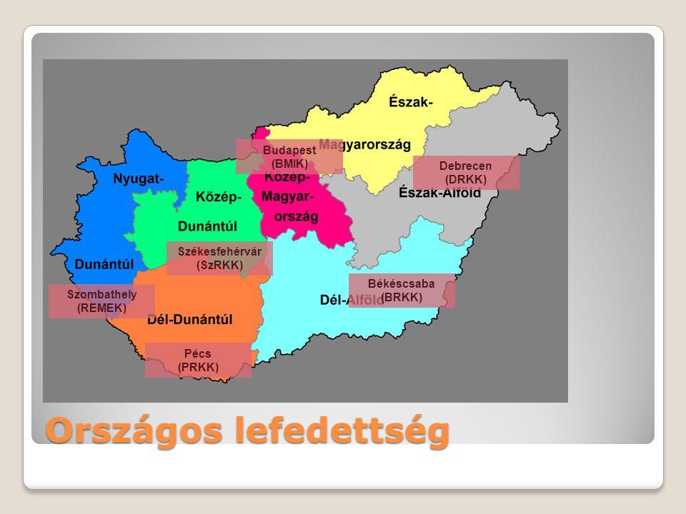 Országos lefedettség Székesfehérvár (SzRKK) Szombathely (REMEK) Békéscsaba (BRKK) Debrecen (DRKK) Budapest (BMIK) Pécs (PRKK)