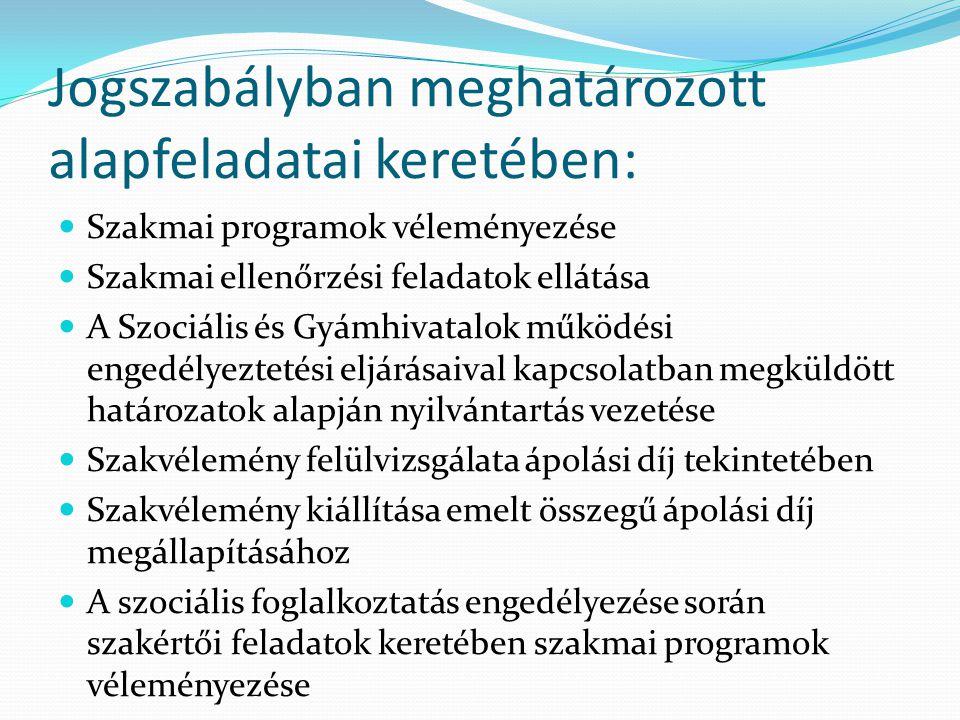 Jogszabályban meghatározott alapfeladatai keretében: Szakmai programok véleményezése Szakmai ellenőrzési feladatok ellátása A Szociális és Gyámhivatalok működési engedélyeztetési eljárásaival kapcsolatban megküldött határozatok alapján nyilvántartás vezetése Szakvélemény felülvizsgálata ápolási díj tekintetében Szakvélemény kiállítása emelt összegű ápolási díj megállapításához A szociális foglalkoztatás engedélyezése során szakértői feladatok keretében szakmai programok véleményezése