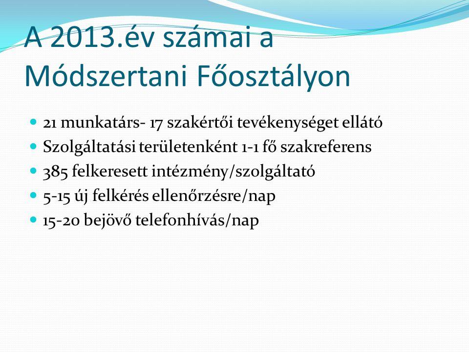 A 2013.év számai a Módszertani Főosztályon 21 munkatárs- 17 szakértői tevékenységet ellátó Szolgáltatási területenként 1-1 fő szakreferens 385 felkeresett intézmény/szolgáltató 5-15 új felkérés ellenőrzésre/nap 15-20 bejövő telefonhívás/nap