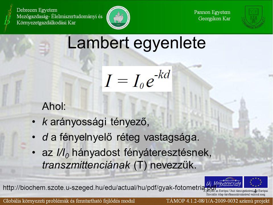 4 Lambert egyenlete Ahol: k arányossági tényező, d a fényelnyelő réteg vastagsága.