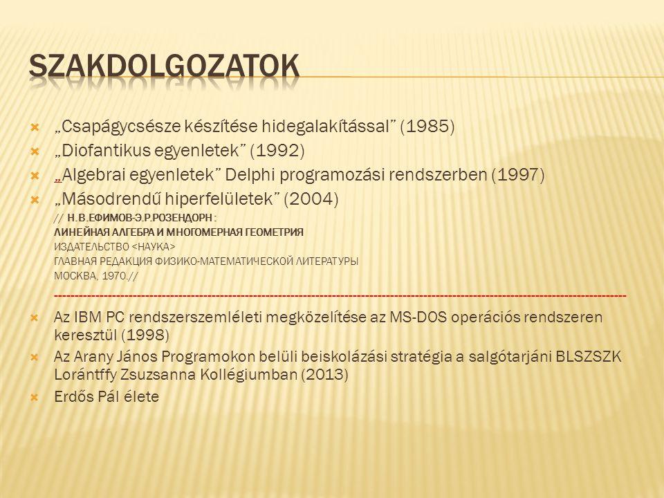 """ """"Csapágycsésze készítése hidegalakítással (1985)  """"Diofantikus egyenletek (1992)  """"Algebrai egyenletek Delphi programozási rendszerben (1997) """"  """"Másodrendű hiperfelületek (2004) // Н.В.ЕФИМОВ-Э.Р.РОЗЕНДОРН : ЛИНЕЙНАЯ АЛГЕБРА И МНОГОМЕРНАЯ ГЕОМЕТРИЯ ИЗДАТЕЛЬСТВО ГЛАВНАЯ РЕДАКЦИЯ ФИЗИКО-МАТЕМАТИЧЕСКОЙ ЛИТЕРАТУРЫ МОСКВА, 1970.// ------------------------------------------------------------------------------------------------------------------------------------------  Az IBM PC rendszerszemléleti megközelítése az MS-DOS operációs rendszeren keresztül (1998)  Az Arany János Programokon belüli beiskolázási stratégia a salgótarjáni BLSZSZK Lorántffy Zsuzsanna Kollégiumban (2013)  Erdős Pál élete"""
