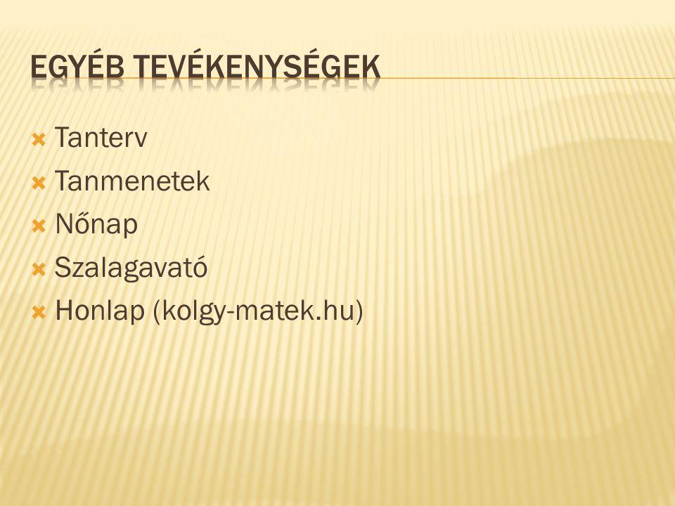  Tanterv  Tanmenetek  Nőnap  Szalagavató  Honlap (kolgy-matek.hu)