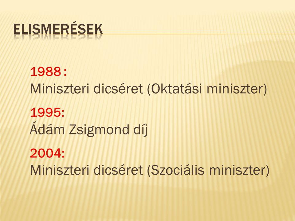 1988 : Miniszteri dicséret (Oktatási miniszter) 1995: Ádám Zsigmond díj 2004: Miniszteri dicséret (Szociális miniszter)