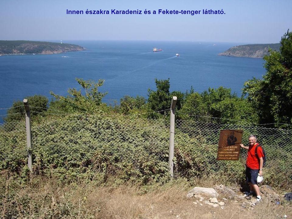 Ha Anadolu Kavağı erődjéből dél felé nézünk, Láthatjuk a Boszporusz szoros utolsó szakaszát. Ázsiában vagyunk, jobbra láthatjuk Európát. Óriási pilono