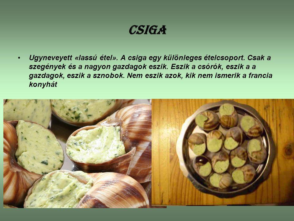 CSIGA Ugyneveyett «lassú étel». A csiga egy különleges ételcsoport. Csak a szegények és a nagyon gazdagok eszik. Eszik a csórók, eszik a a gazdagok, e