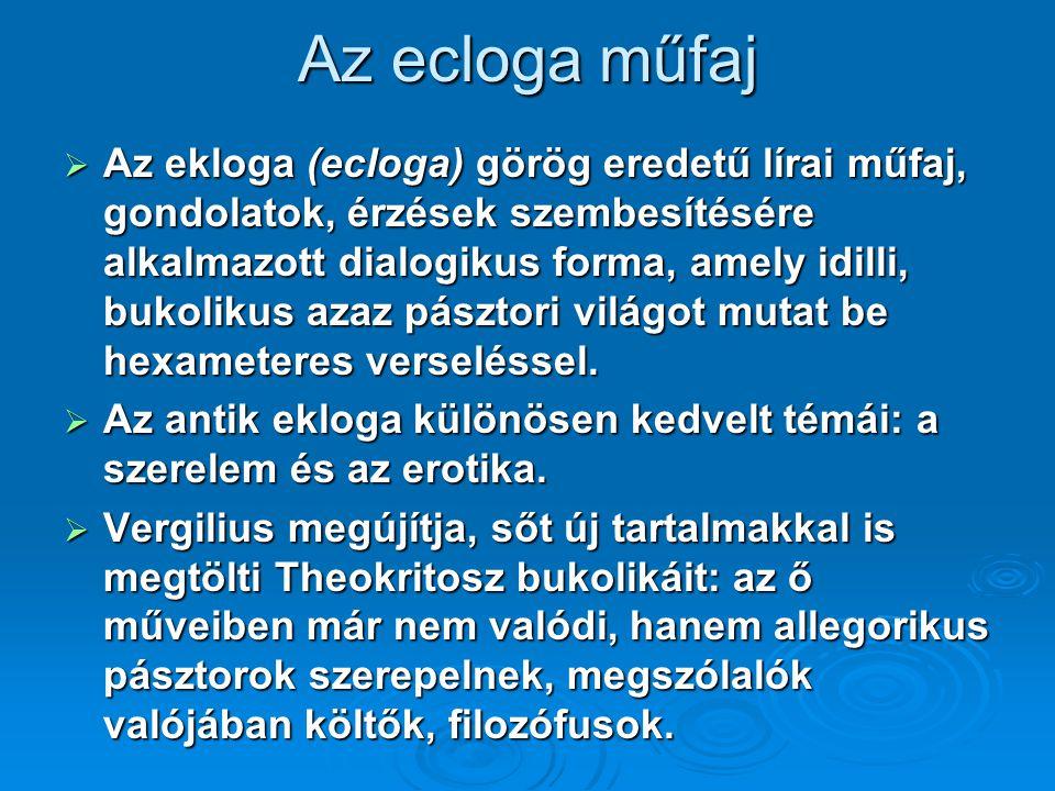 Az ecloga műfaj  Az ekloga (ecloga) görög eredetű lírai műfaj, gondolatok, érzések szembesítésére alkalmazott dialogikus forma, amely idilli, bukolik