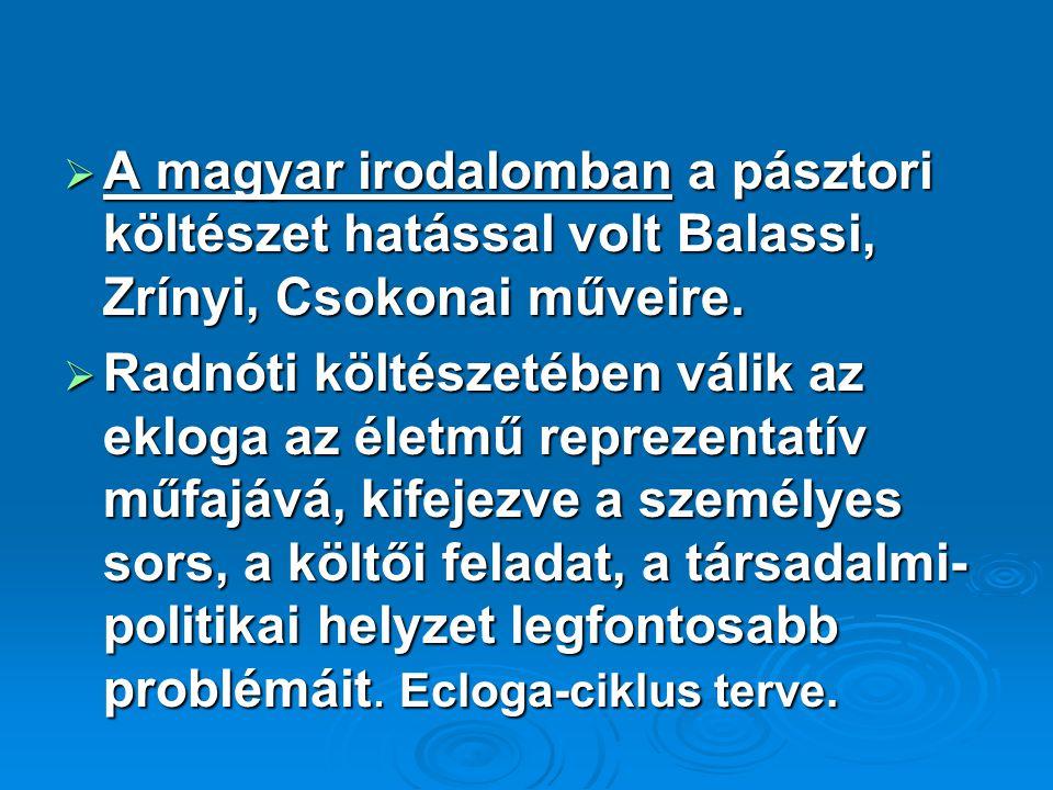  A magyar irodalomban a pásztori költészet hatással volt Balassi, Zrínyi, Csokonai műveire.  Radnóti költészetében válik az ekloga az életmű repreze