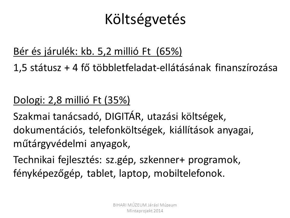 Költségvetés Bér és járulék: kb. 5,2 millió Ft (65%) 1,5 státusz + 4 fő többletfeladat-ellátásának finanszírozása Dologi: 2,8 millió Ft (35%) Szakmai