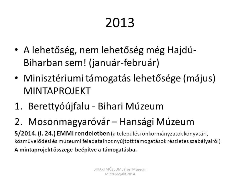 2013 A lehetőség, nem lehetőség még Hajdú- Biharban sem! (január-február) Minisztériumi támogatás lehetősége (május) MINTAPROJEKT 1.Berettyóújfalu - B