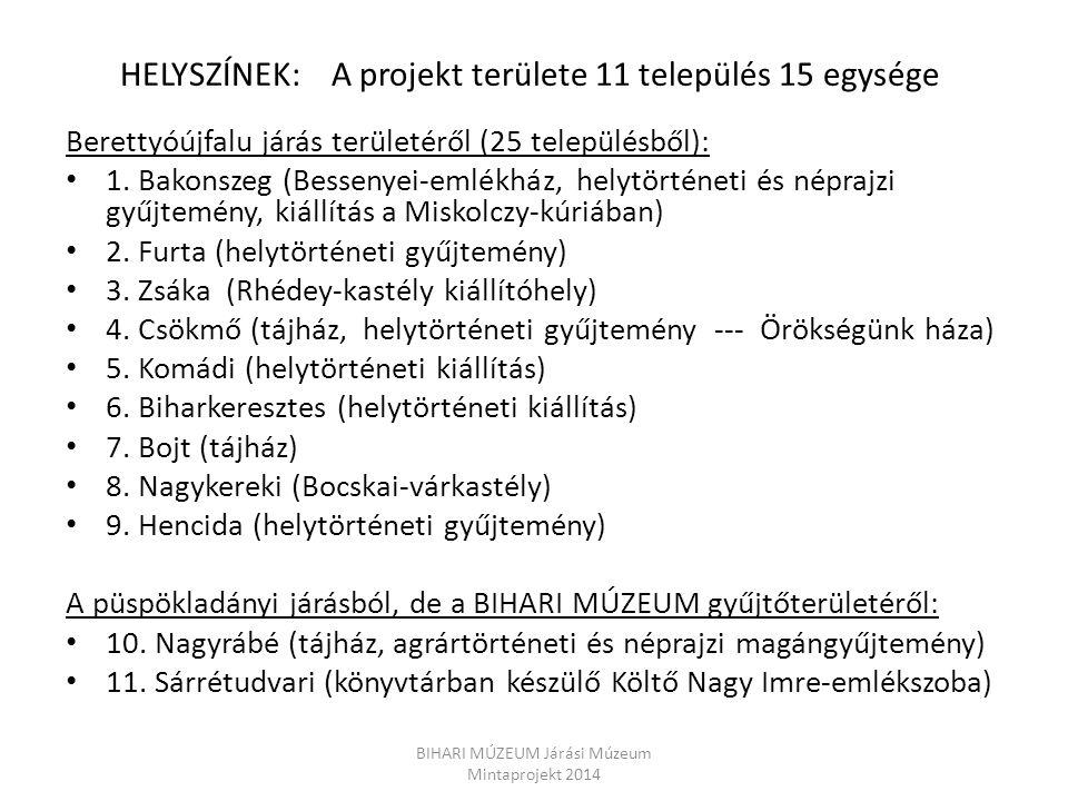 HELYSZÍNEK: A projekt területe 11 település 15 egysége Berettyóújfalu járás területéről (25 településből): 1. Bakonszeg (Bessenyei-emlékház, helytörté