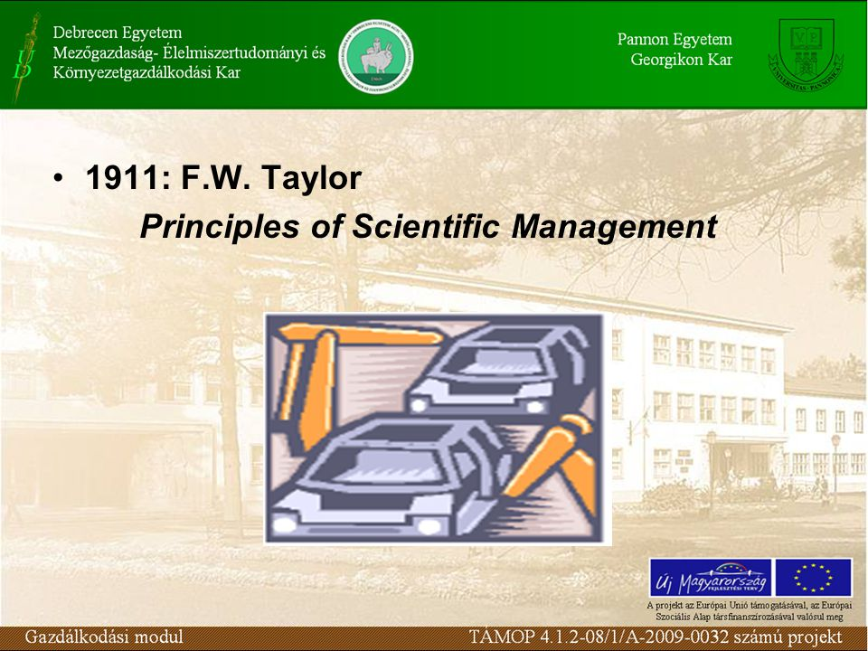 1911: F.W. Taylor Principles of Scientific Management