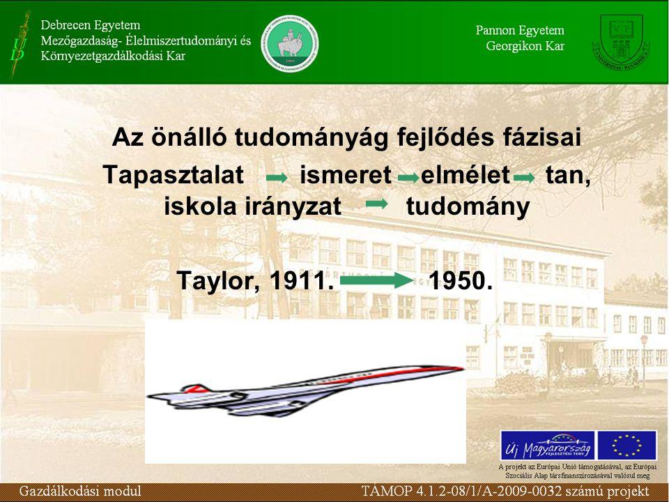Az önálló tudományág fejlődés fázisai Tapasztalat ismeret elmélet tan, iskola irányzat tudomány Taylor, 1911. 1950.